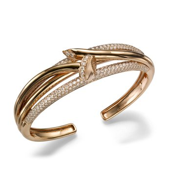 14K Rose Gold Twisted Nail Cuff Diamond Bracelet