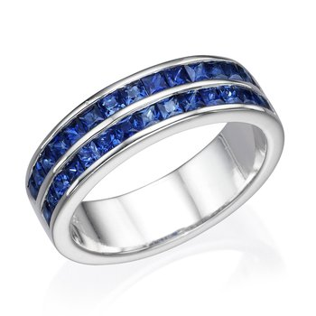 18K White Gold Double Channel Sapphire Ring