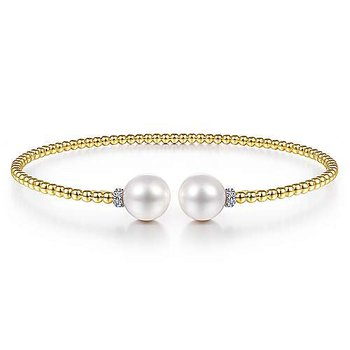 14K Yellow Gold Bujukan Bead Bracelet with Pearl and Diamond Caps