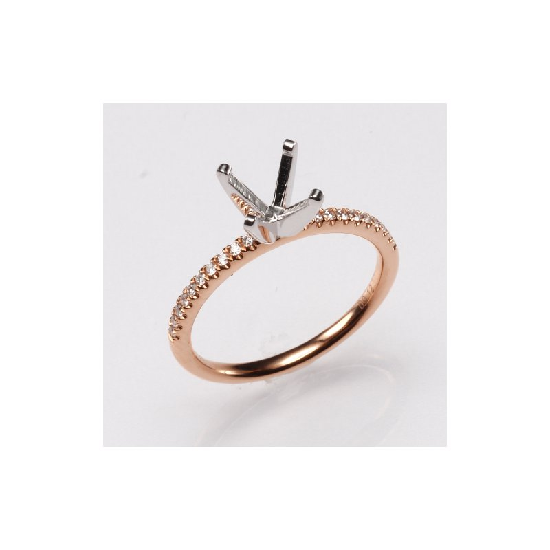 18K Rose Gold .12Ctw Diamond Mounting