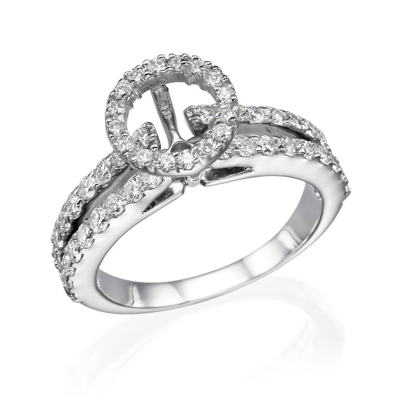 18K White Gold 1.50Ctw Diamond Mounting