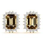 Halo Emerald Smokey Quartz And Diamond Stud Earrings