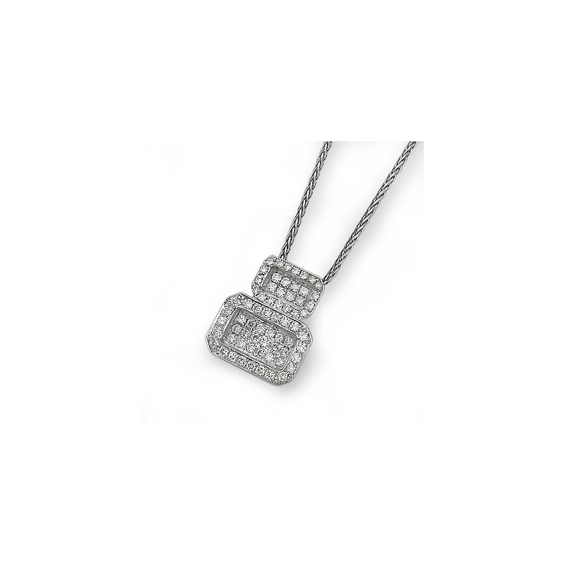 18K White Gold Geometric Pendant