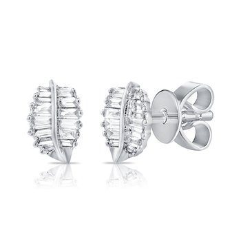 14K Gold & Baguette Diamond Leaf Stud Earrings