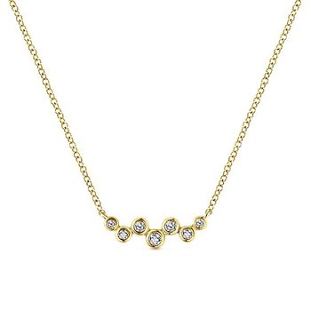 14K Yellow Gold Diamond Bezel Bar Necklace