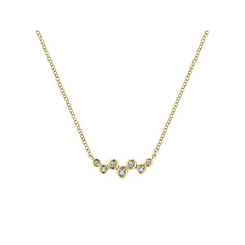 14K Yellow Gold Diamond Bezel Bar Necklace