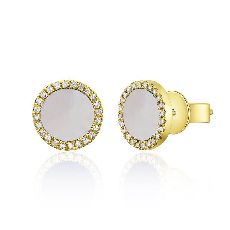 14K Gold Diamond And Mother Of Pearl Studs