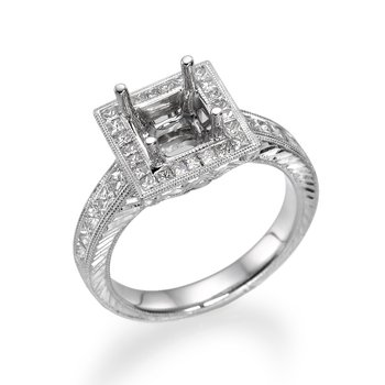 Princess Cut Milgrain White Gold Engagement Ring Mounting