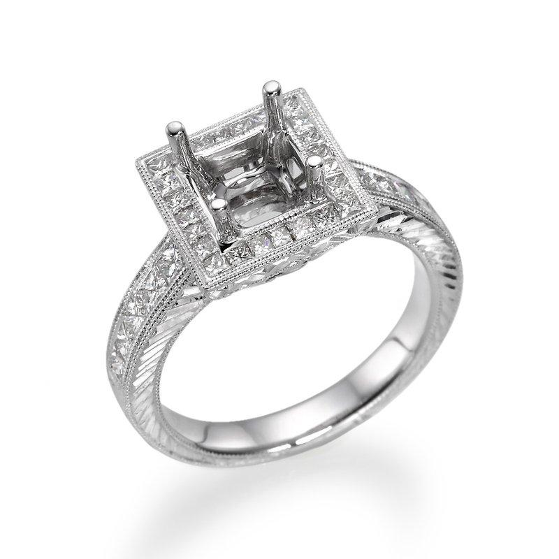 Princess Cut Milgrain White Gold Engagement Ring Mounting