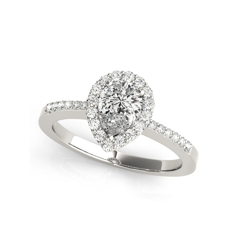 Pear Shape Halo Engagement Ring Mounting