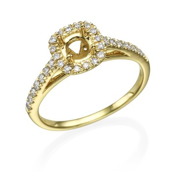 Classic 14K Yellow Gold Halo Engagement Ring Mounting