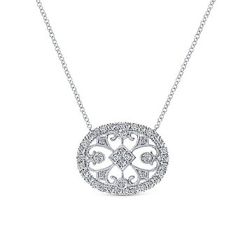 14K White Gold Diamond Vintage Pendant
