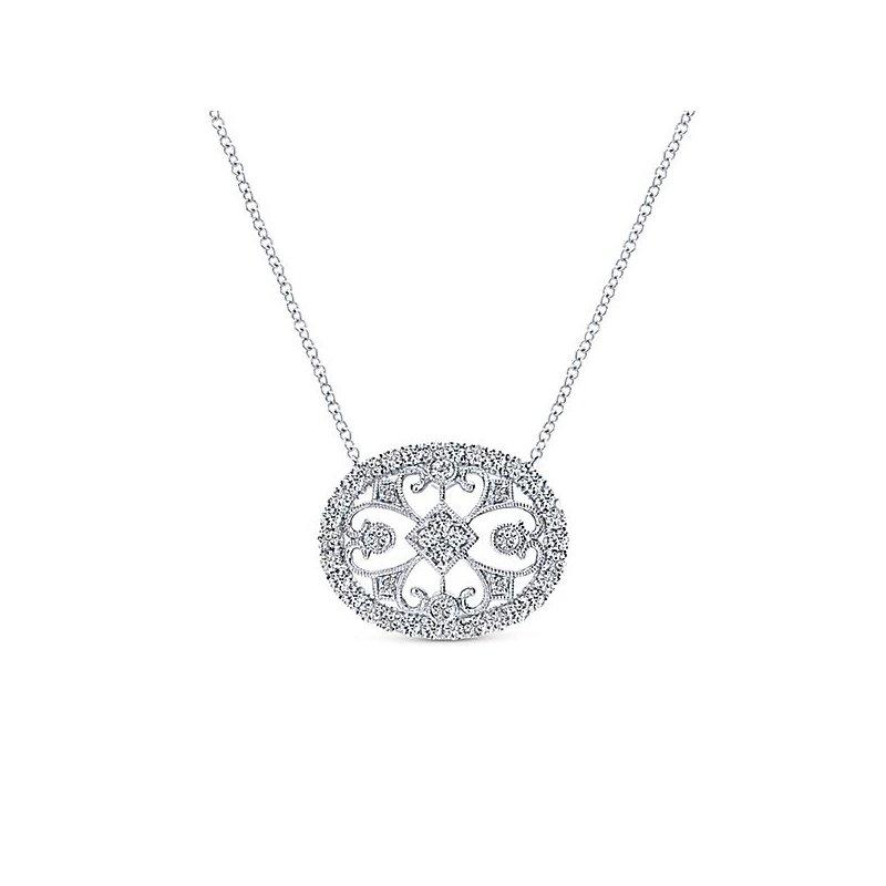14K White Gold Diamond Vintage Pendant