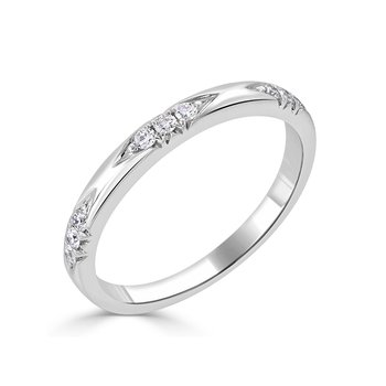 18K Gold Engraved Diamond Band