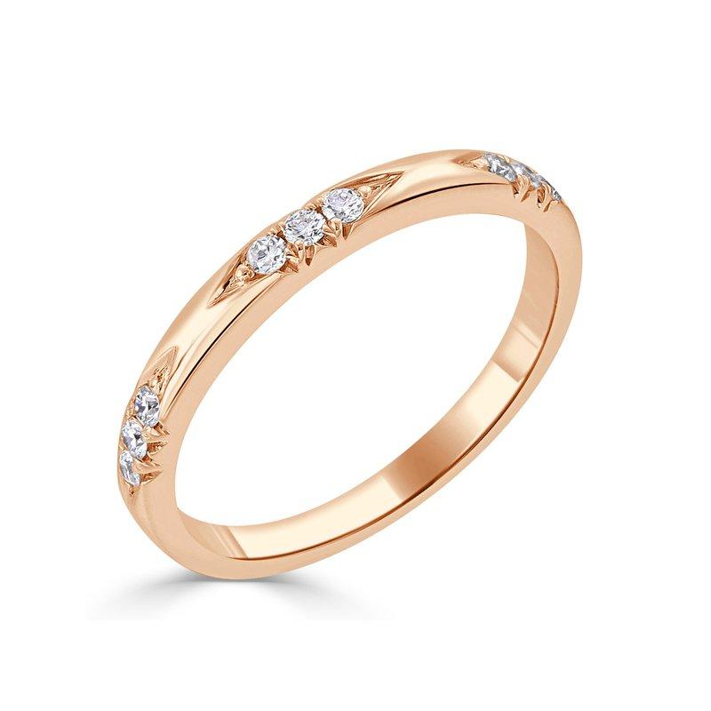 18K Gold Engraved Diamond Band