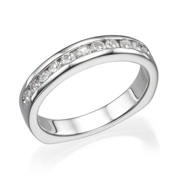 14K White Gold .54Ctw Wedding Band