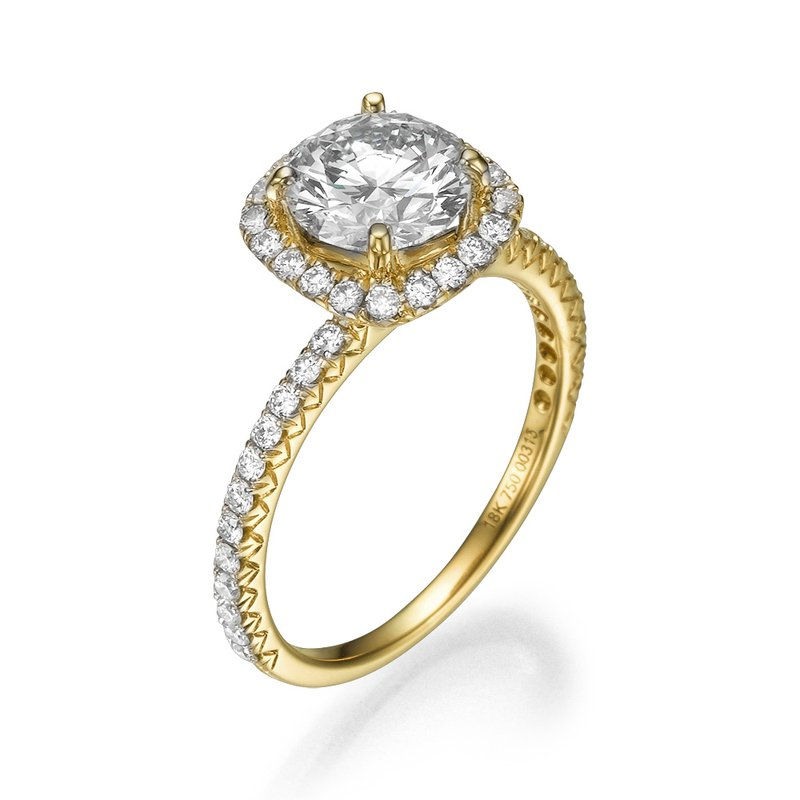 18K Yellow Gold Delicate Halo Mounting