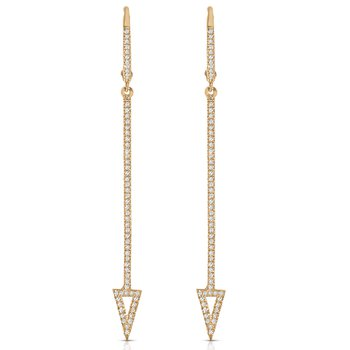 14K Diamond Dangle Arrow Earrings