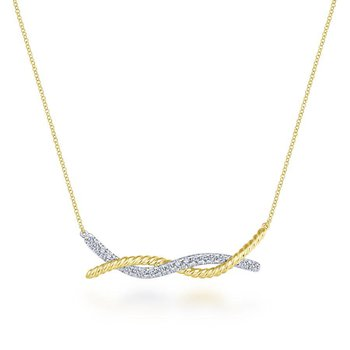 14K Yellow Gold Twist Diamond Bar Necklace