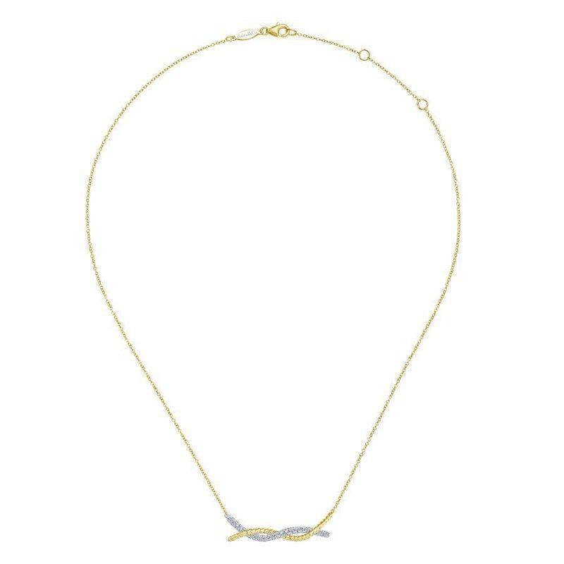 14K Yellow Gold Twist Diamond Bar Necklace