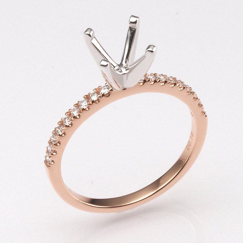 18K Rose Gold .18Ctw Diamond Mounting