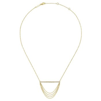 14K Yellow Gold Layered Bar Diamond Necklace