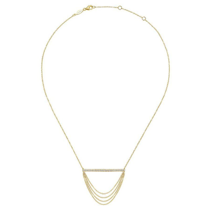 14K Yellow Gold Layered Bar Diamond Necklace