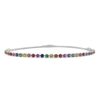 14K Gold Rainbow Sapphire Bracelet