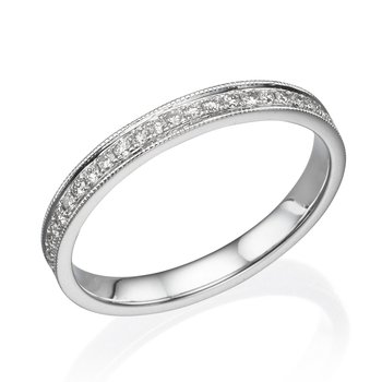 14K White Gold .32Ctw Milgrain Wedding Band