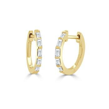 14K Gold & Baguette Diamond Huggie Earrings