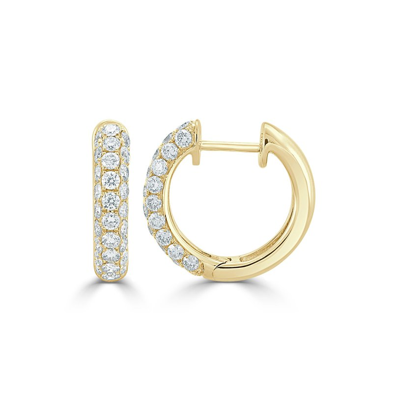 18K Gold Diamond Pave Huggies