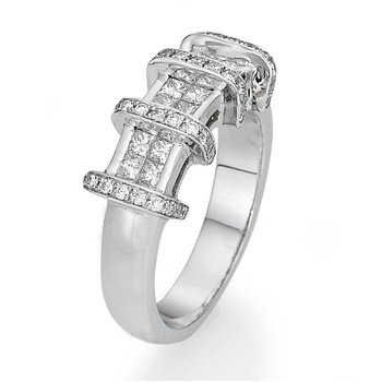 18K White Gold Diamond Bar Fashion Ring