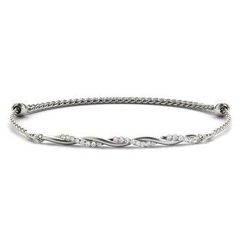 14K White Gold Diamond Bar Twist Bracelet