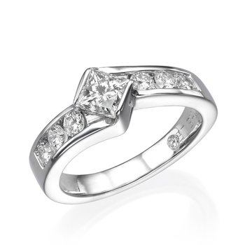 14K White Gold Princess Kite Set Engagement Ring