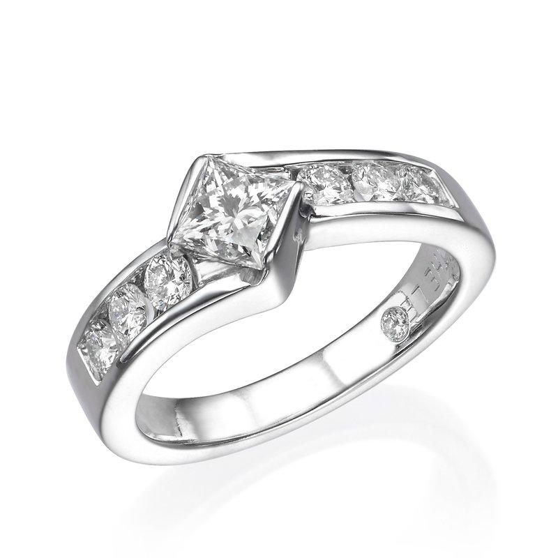 14K White Gold Princess Kite Set Engagement Ring