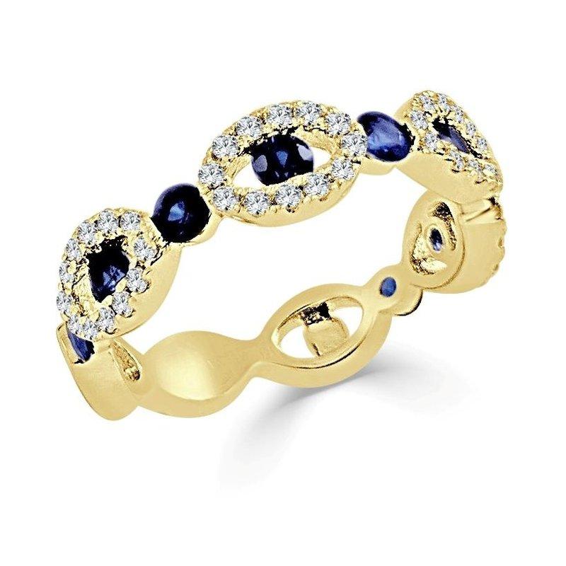 14K Gold Sapphire And Diamond Scalloped Band