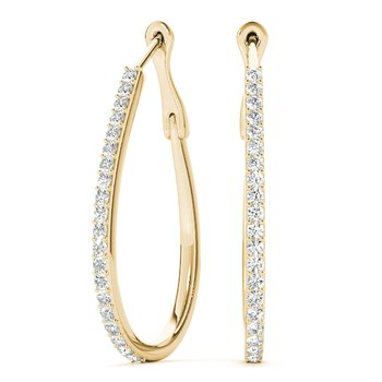 Diamond Oval Hoop Earrings