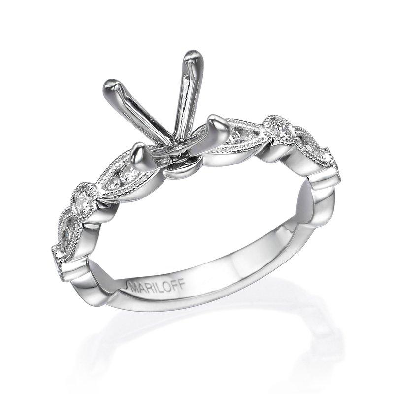 18K White Gold Vintage Milgrain Diamond Ring Engagement Ring