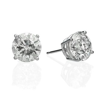 14k White Gold 4.45ctw Round Clarity Enhanced Diamond Stud