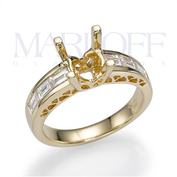 18K Yellow Gold Baguette Diamond Engagment Ring Mounting