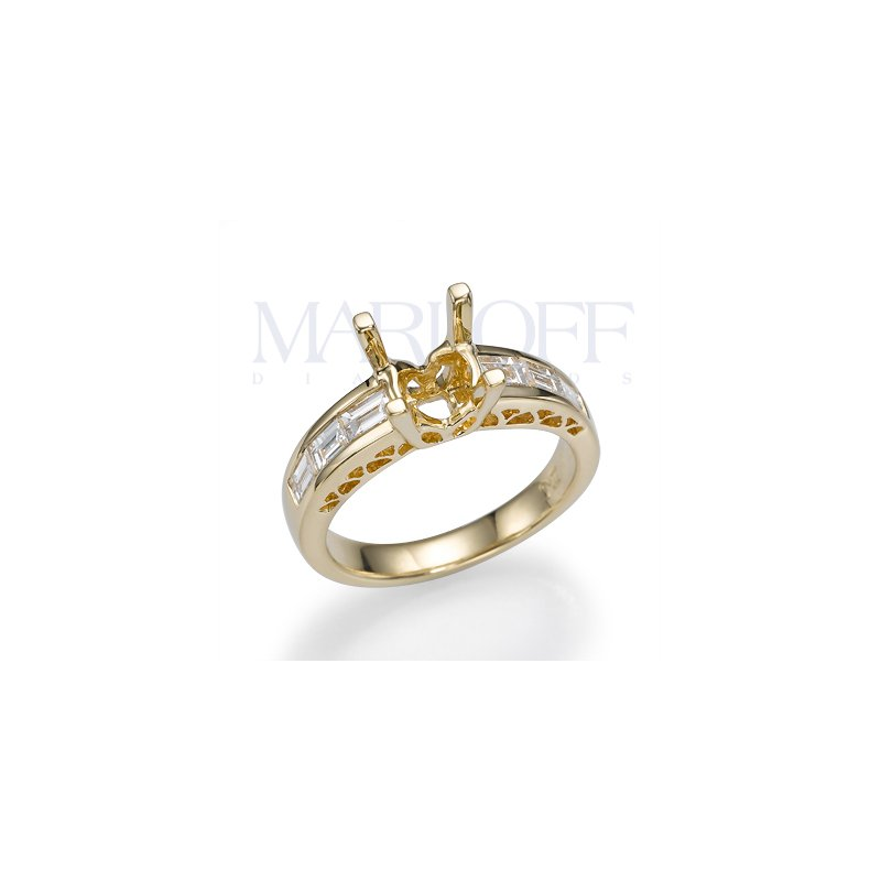 18K Yellow Gold Baguette Diamond Engagment Ring Mounting