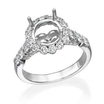 18K White Gold 1.12Ctw Diamond Halo Mounting