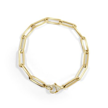 14K Gold Diamond Paperclip Bracelet