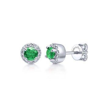 14K White Gold Emerald And Diamond Halo Studs
