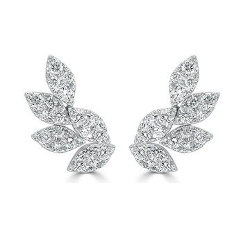 18K Gold Diamond Leaf Earrings