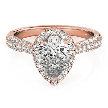 Pave Pear Halo Diamond Engagement Ring Mounting