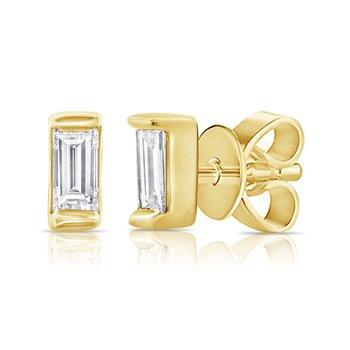 14K Gold & Baguette Diamond Stud Earrings