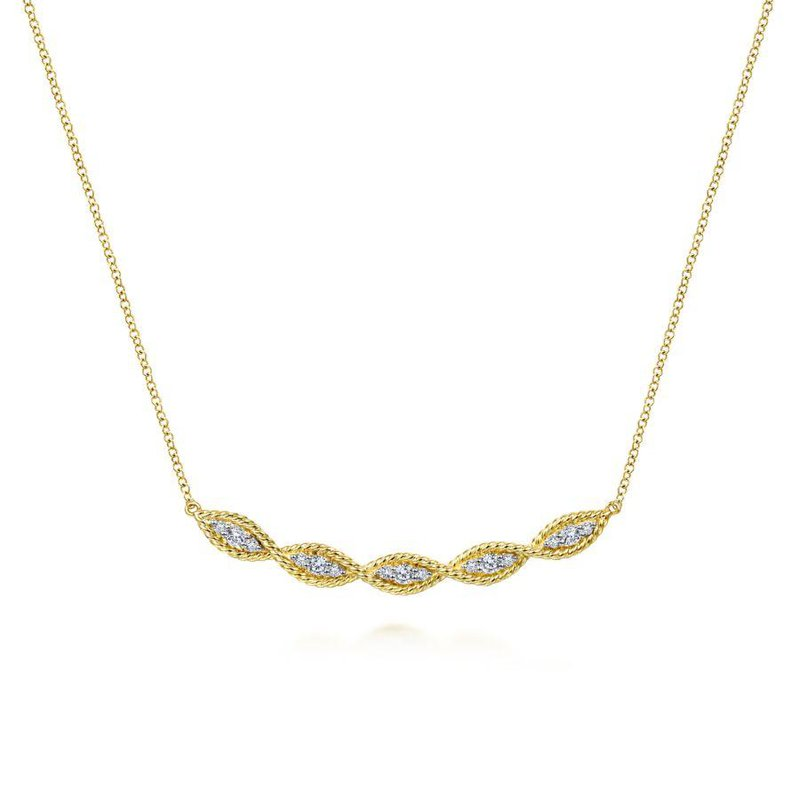 14K Yellow Gold Twisted Diamond Bar Necklace