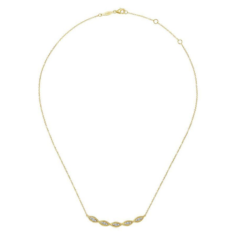 14K Yellow Gold Twisted Diamond Bar Necklace