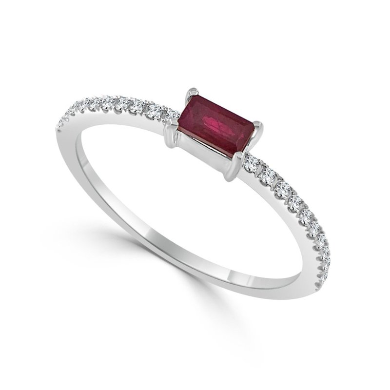 14K Gold Ruby And Diamond Band